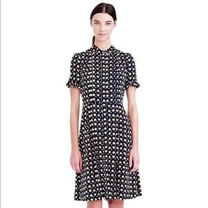 J. Crew navy heart dot silk shirt dress 10 $198